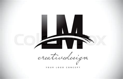 lm   letter logo design  swoosh stock vector