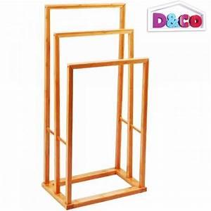 Porte serviette salle de bain bambou 82 cm