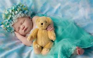 Wallpaper Cute baby, Sleeping, Teddy bear, Cute, #2885