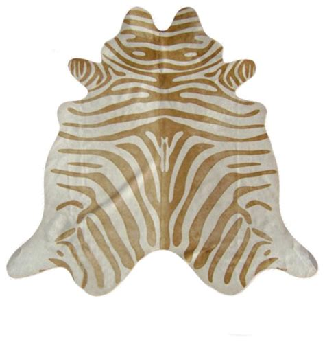 Zebra Print Cowhide - zebra print cowhide rug contemporary novelty rugs by