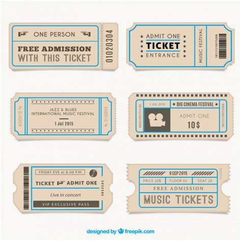 Museum Costo Ingresso by Vintage Tickets Collection Vector Premium