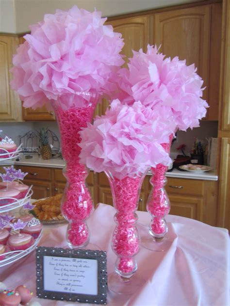 how to make cheap decorations pink baby shower centerpiece tall vases pink filler paper pink tissue balls party shower