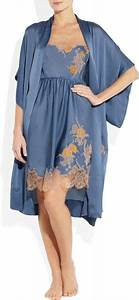 carine gilson theme tamara lace appliqued silk satin robe With robe tamara