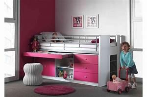 Lit Bureau Enfant : lit combin 5 coloris au choix 90x200 cm bureau rangement cbc meubles ~ Teatrodelosmanantiales.com Idées de Décoration