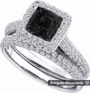 bridal black diamond 125 carats wedding engagement 14k With engagement wedding ring sets white gold
