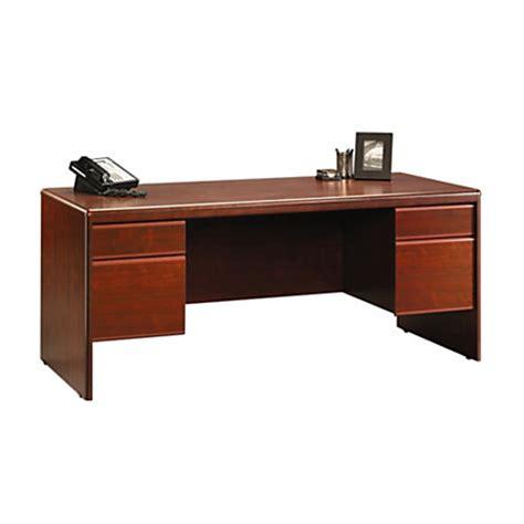 sauder cornerstone collection executive desk 29 14 h x 70 516 w x 29 12 d classic cherry by