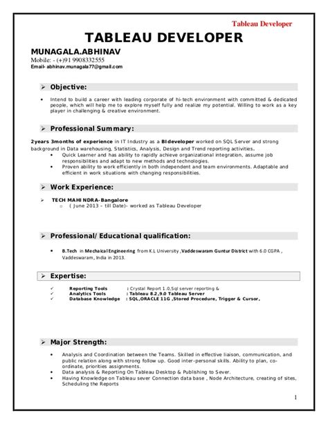 tableau developer resume doc tableau developer