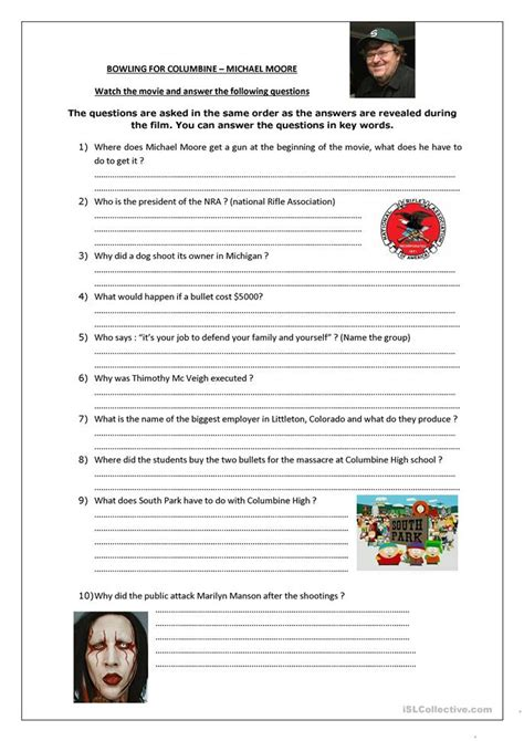 Bowling For Columbine Worksheet  Free Esl Printable Worksheets Made By Teachers
