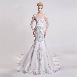 elegant bridal 2016 beautiful fit flare mermaid beaded With long sleeve beaded wedding dress