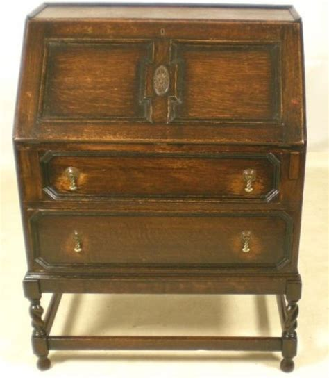 jacobean style oak writing bureau 71536 sellingantiques co uk