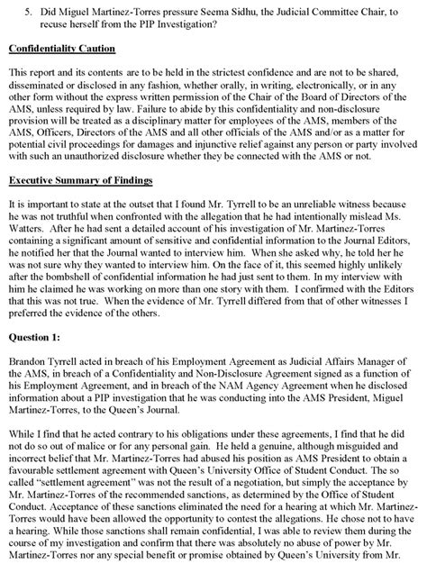 Executive Summary of the Investigation Report into the AMS ...