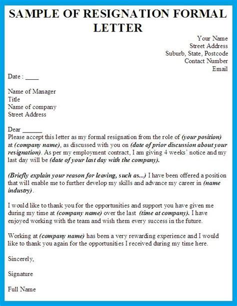 formal resignation letter template letter examples