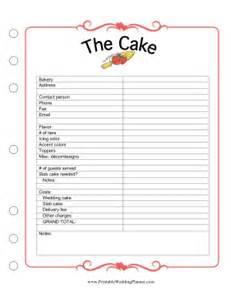 printable wedding planner cake