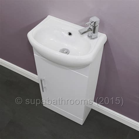 bathroom cloakroom compact gloss white vanity unit cabinet