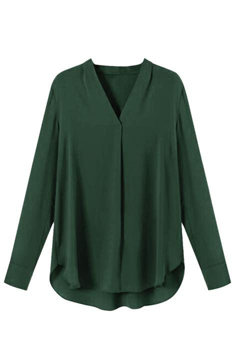 womens green blouse womens chiffon v neck sleeve plain high low blouse