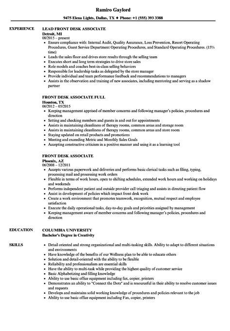 Front Desk Description For Resume by Front Desk Associate Resume Sles Velvet
