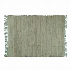 Tapis En Coton : tapis en coton et jute vert 160 x 230 cm lodge maisons ~ Nature-et-papiers.com Idées de Décoration