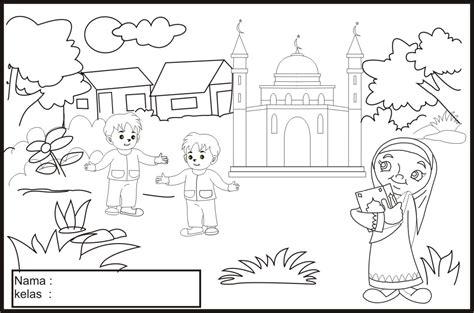 gambar mewarnai gambar sketsa kartun anak muslimah 14