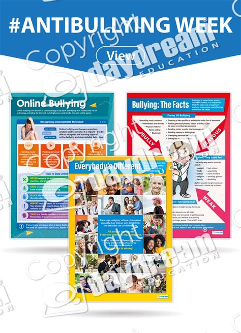 set   anti bullying posters bullying educational school posters