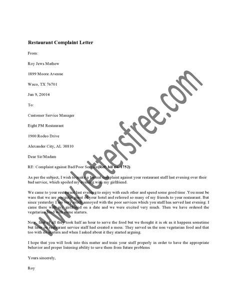 Restaurant Complaint Letter | Sample Complaint Letters