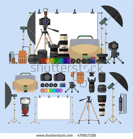 12144 professional photographer clipart vector set photography isolated objects photo stock vector