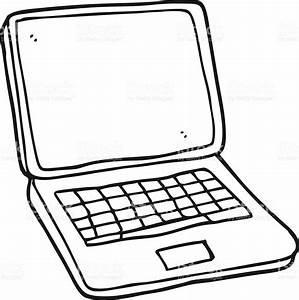 Black And White Cartoon Laptop Computer Stock Vector Art ...