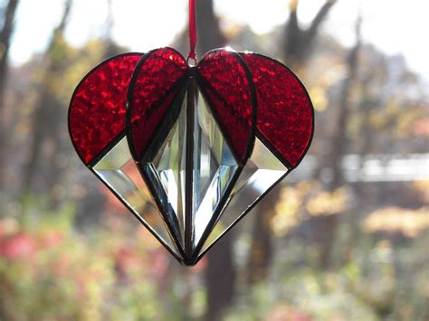 stained glass suncatcher heart red glasses stained