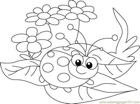 Ladybug Between Leafs Coloring Page