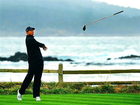 Tiger Woods on 18 at Pebble   Photo, Pebble beach pro am ...