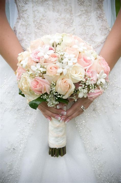 Pink And White Roses Bridal Bouquet Wedding Favorites