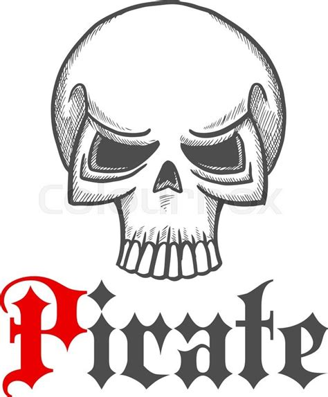 horror themed home pirate skull sketch icon for piracy themed concept