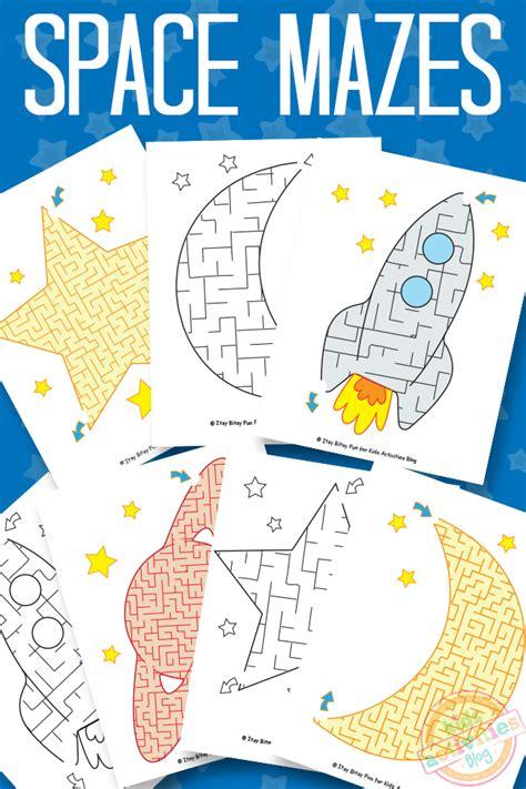 space mazes  kids printable