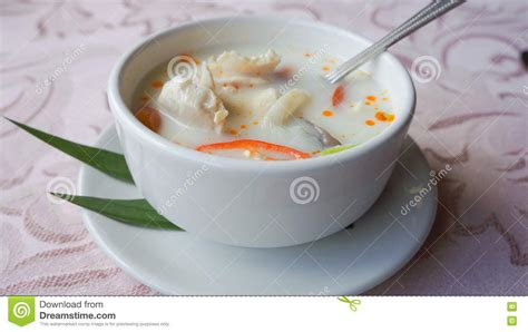 galanga cuisine chicken soup in coconut stock photography