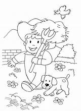 Coloring Farm Farmer Animals Dog Kid Horses Pages Simple Horse Drawing Children Animal Adult Justcolor Ll sketch template
