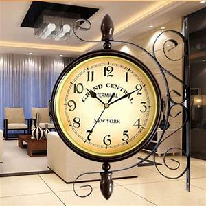 17mm, 0, 67inch, Europe, Double, Face, Wrought, Iron, Wall, Clock, Antique, Style, Vintage, Large, Clocks, Home