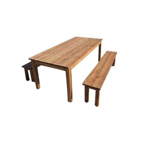 salon de jardin bois table 2 bancs trigano store