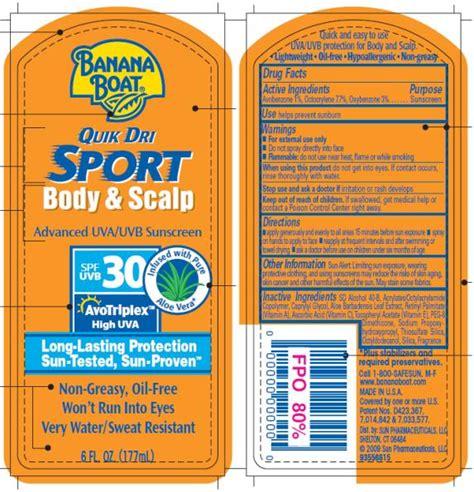 Banana Boat Quik Dri Sport Sunscreen by Dailymed Banana Boat Quik Dri Sport And Scalp Spf