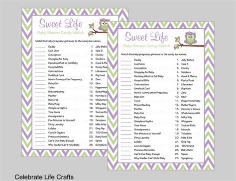 baby shower sweet life candy bar match game  answer