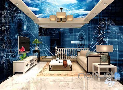 Digital Office Wallpaper by 3d Digital Cyber Data Math Science Entire Office Room