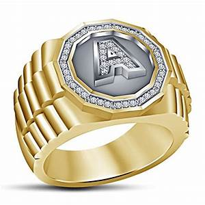 vorra fashion men39s 39a39 letter initial fancy ring 925 With mens gold ring with letter