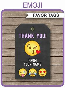 Thank You Gift Tag Template Emoji Party Favor Tags Template Emoji Theme Thank You Tags