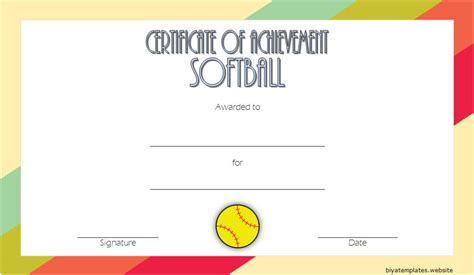 printable softball certificate templates   designs