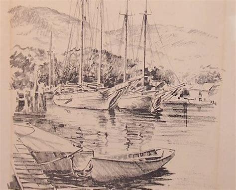 sailboats boats boat  dock  jas  murray  lith