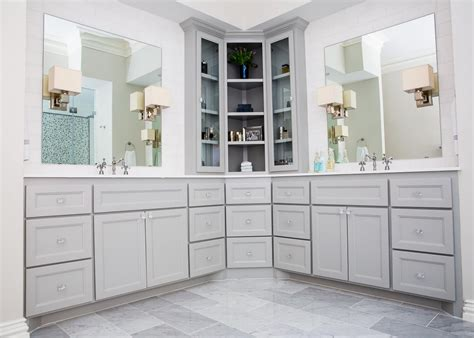 Master Bath With Custom Corner Cabinet Ikea Large Coffee Table Lift Up Top Beech With Storage Retro White Modern Stone Repurpose A Matching End Tables
