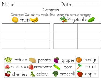 categorize classify worksheets volume 2 cut and paste