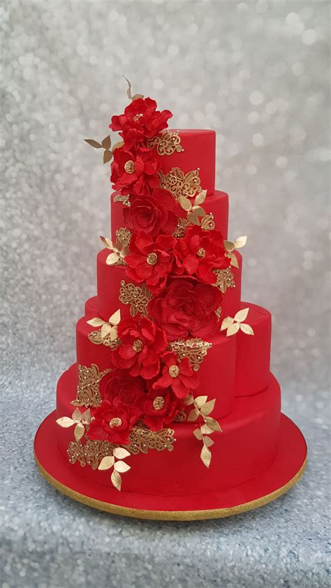 red wedding cake cakecentralcom
