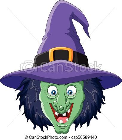 vector illustration  cartoon witch head isolated