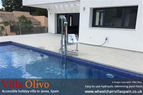 swimming pool with disabled access hoist wheelchair