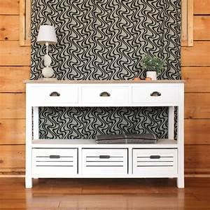 Console Blanche Pas Cher : console mdf 6 tiroirs blanche plateau naturel made in ~ Dailycaller-alerts.com Idées de Décoration