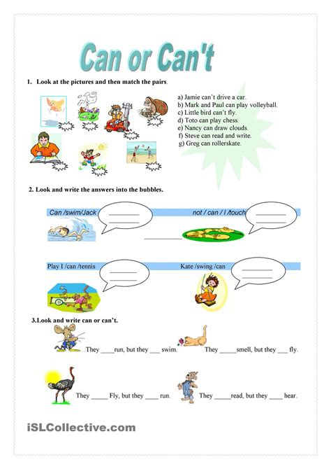 can or can t worksheet kindergarten level learn